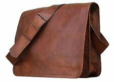 "15"" Mens Brown messenger leather bag satchel crossbody laptop bag briefcase"