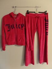 Fab! Juicy Couture Raspberry Pink Velour Bling Hoodie & Pant Set  XL