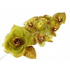 "3 gold Silk Pearl & organza flower  Corsages 5""x 2.5 with pearl pin"