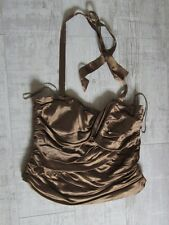 NEXT Old Gold BRONZE Bustier BONED Corset Top Size 14 RUCHED RRP £34