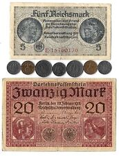 Rare Old Nazi Germany Vintage Money WWI WWII Coin Banknote Collection Unique Lot