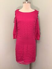 Walter Baker Anthropologie hot Pink Shift Dress EUC Open Arm Lace Up 2 SilK XS
