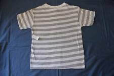 NEW Boys T Shirt Size 8 Medium Top Gray Striped Short Sleeve Summer Clothes