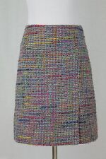 Larroque Paris Wool Blend A- Line Above the Knee Tweed Skirt Pink Multi-color S