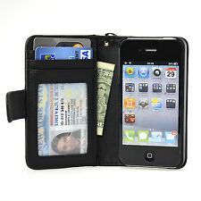 Navor Folio Wallet Leather iPhone 4 4S Case Money Card Pocket Clear Window Black