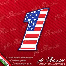 Adesivo Stickers NUMERO 1 moto auto cross gara USA Star & Stripes