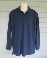 L.L. Bean Mens Navy Wrinkle Resistant Double L Polo Long Sleeve Shirt  L - tall