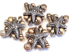 4 - 2 HOLE SLIDER BEADS TRI COLOR MIXED METAL STARFISH & SEA SHELLS BEACH BEAD