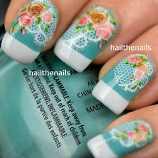 VINTAGE ROSE & Pizzo Nail Art Wraps trasferimenti di acqua Decalcomanie yd007