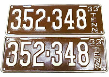 1933 Tennessee License Plate Set 352-348 Antique Vintage Rare TN  Tag