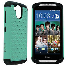 For HTC Desire 526 Case - Teal/Black Hybrid Diamond Bling Skin Phone Cover