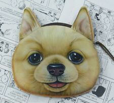 Japanese AKITA DOG Pup DOGGY 3D Photo COIN PURSE, Lined Gift Bag Wallet, UK Sale