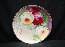 Antique Limoges France Coronet A. Broussillon Hand Painted Plate Red Yellow Rose