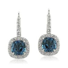 925 Sterling Silver London Blue & White Topaz Cushion-cut Leverback Earrings