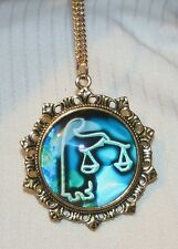 Lovely Fleur de Lis Starburst Blue & White Libra Scales Zodiac Goldtone Necklace