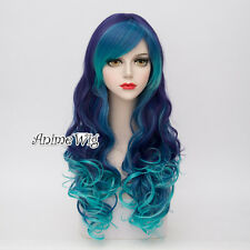 65CM Turquoise Green Mixed Purple Long Curly Hair Lolita Ombre Women Cosplay Wig