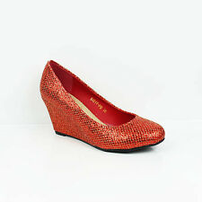 WOMENS LADIES GLITTER WEDGE HEEL SLIP ON BALLERINA STYLE COURT SHOES SIZE 3-8