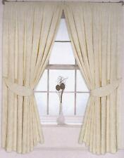 """Long Cream Curtains 90"""" x 108"""" Drop Pencil Pleated Floral Fully Lined Tie Backs"""