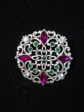 """JJ"" Jonette Jewelry Silver Pewter 'Purple*Green*White Jeweled' Pin"