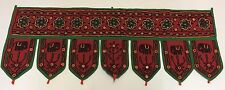 Indian Red Toran Elephant Embroidered Tapestry Wall Hanging Runner 3ft
