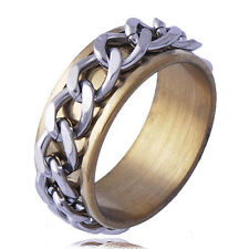 Stainless Steel Gold Mens Link Gear Vintage Jewelery Bands Ring Size 9