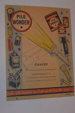 VINTAGE FRENCH 'WONDER' FLASHLIGHT & BATTERY ADVERTISING BOOK COVER IN COLOR!
