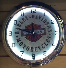 Harley-Davidson Motor Cycles White Neon Wall Clock Car Truck Automotive Sign