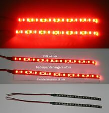 2 RED BRIGHT 6 inch 18 LED Waterproof Flexible Light Strip BLACK PCB board