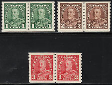 Canada KGV Pictorial Coil Pairs, Scott 228-230, VF MH, catalogue - $130 NICE