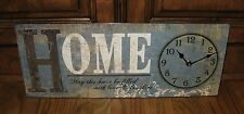 HOME Wall CLOCK*Blues*Primitive/French Country/Paris Chic Shabby Script Decor