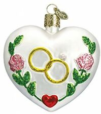 Old World Christmas Wedding Heart Glass Blown Ornament