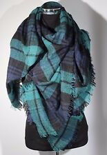 Women Teal Plaids &Check Blanket Oversized Tartan Big Long Scarf Shawl Pashmina