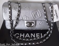 CHANEL Silver Iconic Lucky Charm Embossed Leather CC Med Crossbody Flap Bag NWT