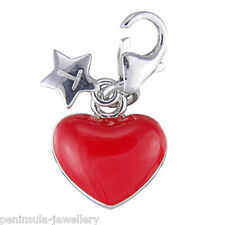 Tingle Red Love Heart Sterling Silver clip on Charm with Gift Bag and Box SCH114