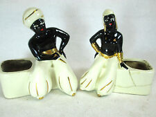Vintage lot of 2 ceramic planters Arab, Egyptian Genie black figurine