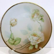 Vintage Princess Germany China Hand Painted 7.5 Inch Plate, White Roses