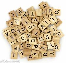 200 WOODEN SCRABBLE  BLACK LETTERS & NUMBERS TILES  CRAFTS WOOD UK SELL