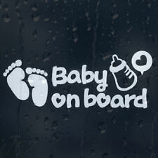 Baby On Board Milk Bottle Heart And Foot Prints Car Decal Vinyl Sticker