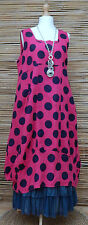 """LAGENLOOK LINEN AMAZING LARGE DOTS LONG DRESS*PINK/NAVY*BUST UP TO 46""""SIZE L-XL"""