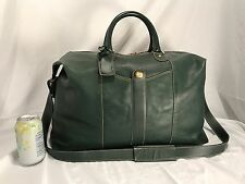 Rare Leather Dunhill Pebbled Leather Duffel Bag Dark Green $1300 Great Weekender