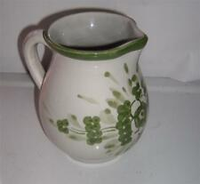 Mexican Stoneware Folk Art Handpainted Pitcher Marked Gray/Green Floral Design