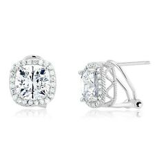18K WHITE GOLD VERMEIL 6CTW Cushion 5A Cubic Zirconia Halo Omega BacK Earrings