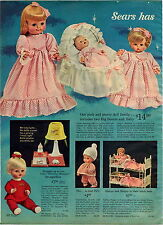 1965 ADVERT 2 PG Sears Talking Dolls Twins Miss Peep Snugglebun Lullabye Baby