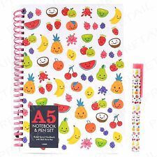 A5 Happy Fruit Note Book & Ball Point Pen +SPIRAL BOUND JOURNAL+ Office/School