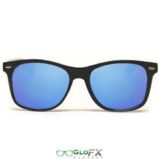 GloFX Diffraction Glasses – Black – Blue Mirror Dual Panel EDM Festival