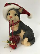 Black Tan Resin Christmas Kitty Cat Figure Figurine W/ Mitten Yarn Santa Hat 8""