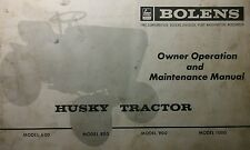 Bolens 1000 Lawn & Garden Tractor Owner & Parts (2 Manuals) 30pg Repair Husky