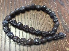 NOS Yummy Chocolate Brown Colored Stone Craved Skull Head Trendy Bead Strand Lot