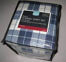 FULL / DOUBLE - Home - Blue & Gray Plaid 100% Cotton FLANNEL SHEET SET