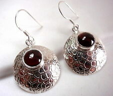 Garnet Round Convex Earrings 925 Sterling Silver Dangle Webbed Design Accents
